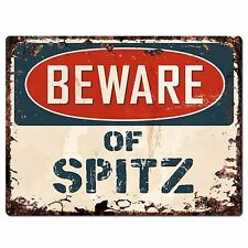 Pp1468 Beware of Spitz Plate Chic Sign Home Store Wall Decor Funny Gift