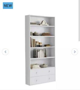 Habitat Maine 4 Shelves 2 Drawer Bookcase - Grey 3 Colours Available