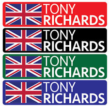 16 x Personalised Name & Flag Golf Club 48x10mm  Sticker Decals