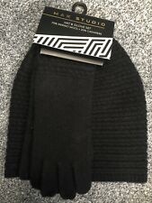 Max Studio Merino Wool & Cashmere Hat & Glove Gift Set. Black. New with Tags