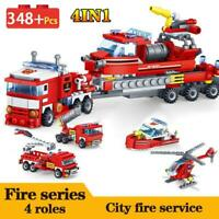 City Firefighter Figure Building Blocks Bricks Fire Fighting Car Helicopter Boat