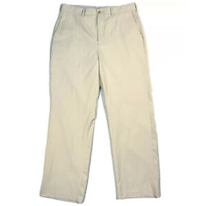 Callaway Golf Pants Classic Flat Front Straight leg Solid Khaki Tan Men's 34x32