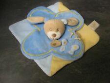 doudou lapin bleu jaune papillon baby nat' état neuf