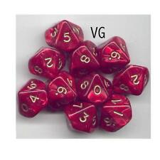 NEW RPG Dice Set of 10D10 - Pearl Red