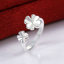 925 Sterling Silver Plated DOUBLE CLOVER RING Thumb/Wrap ADJUSTABLE St. Patrick