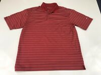 Nike Golf Mens Polo Shirt Size Large Red Striped A119