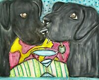 Labrador Retriever drinking a martini Pop Art Print 8x10 Dog Collectible Black