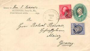 USA 1892 Washington 2 C uprated STO postal stationery envelope 3-COLORS FRANKING