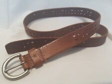 VTG CK Calvin Klein Leather belt Solid brass buckle cut out design small Rustic