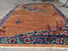 Antique Hand Made Art Deco Chinese Carpet Brown Blue Wool Large Carpet 440x360cm