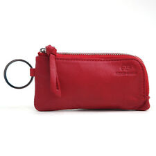 New Genuine Leather Multi-functional Case Coin Purse Key Chain Ring Wallet - Red