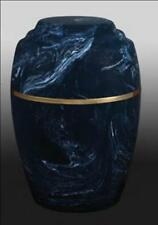 Vase Style Blue and White Cultured Marble Cremation Urn - perfect for burial