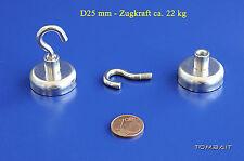 Neodym Flachtopfmagnet mit Haken 25x16mm 22kg Topfmagnet starke Loch Magnete Top