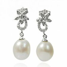 De Buman Sterling Silver Cultured Freshwater Pearl and Cubic Zirconia Earrings