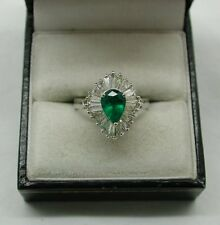 Vintage 18ct White Gold Pear Shaped Emerald And Tapered Baguette Diamond Ring