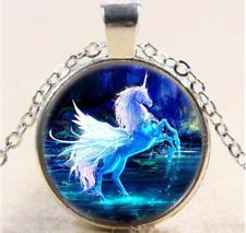 HANDMADE Beautiful Blue Glow PEGASUS UNICORN Silver Pendant Necklace USA SELLER