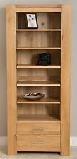 Large Solid Oak Bookcase With Drawers Kuba Chunky Wood Display Cabinet