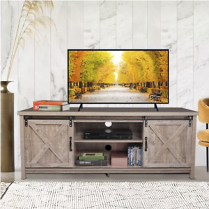 """Farmhouse Sliding Barn Door TV Stand for TVs up to 60"""" Television Stand Media"""