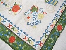 alte Tischdecke, Baumwolle, 60er Jahre, bunt bedruckt, 115 cm x 126,5 cm