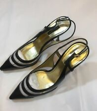 DOLCE & GABBANA grey patent clear slingback heels IT 39.5 UK 6 US 8 pumps