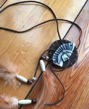 Indian Bohemian Tribal Vintage Feather Leather Boho Statement Long Necklace
