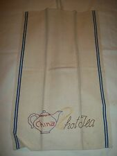 """VINTAGE  KITCHEN TOWEL WITH HAND EMBROIDERY """"CHINA HOT TEA"""" DESIGN 16""""x27"""" INCH"""