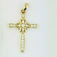 14K Yellow Gold FN Round Cut Diamond Cross Pendant Religious Charm for Necklace
