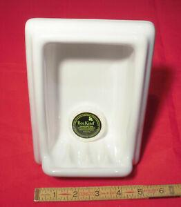 "*Glossy White* Tall Ceramic Soap Dish with lip, semi-recessed 1.25""  New Stock"