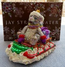 Jay Strongwater Santa Mouse on a Sled Ornament w Swarovski Elements New in Box
