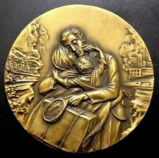Immigrant Day Emigration Farewell Family Peace Dove Sky / BIG Bronze Medal / M91