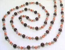"32"" HAND KNOTTED MAHOGANY OBSIDIAN GEMSTONE BEADED NECKLACE & EARRING SET"