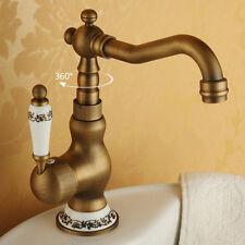Vintage Porcelain Handle Bathroom Sink Faucet Swivel Spout Basin Mixer Tap