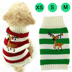 Xmas Pet Jumper Knit Sweater Dog Clothes Winter Reindeer Printed Puppy Cat Coats