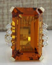 19.30 Carat Natural Citrine 14K Yellow Gold Diamond Ring