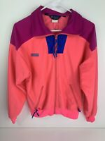 VINTAGE Columbia women's track jacket size L LARGE *Fits Small* blue pink Neon