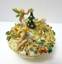 New Ultra Rare Kirks Folly Fairies White Rabbit Crystal Gold Enamel Trinket Box