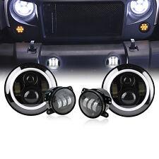 "7"" 80W CREE LED Headlights + LED Fog Light Combo For 07-17 Jeep JK"