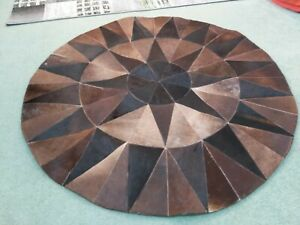 Cowhide Rug Patchwork 122x122 cm, Round Leather Rugs,  Animal print Floor mat