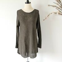 EILEEN FISHER Open Knit Sweater Oversized Olive Tunic Slits Womens Size Small