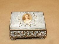 "Vintage Embossed Brass White Enamel & Cameo Portrait Footed Trinket Box Japan 3"""