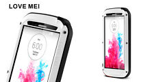 Love Mei Metal Casing For LG G3 Spray Waterproof Stable Protection White