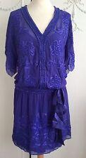 VINTAGE KAREN MILLEN BLUE BEADED PIPPA FLAPPER DRESS UK 12 EXCELLENT CONDITION