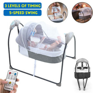 Bluetooth Electric Baby Crib Cradle Sleep Bed Bouncer Auto-Swing Bed Set+Remote