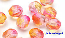 10 Angels Kiss Firepolished Glass Faceted Round Beads 8MM