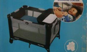 Baby Boys Graco Pack 'N Play Playard Playpen Black Portable Nap Changer Crib 19A