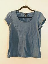 H&M Basic Women's Top sz Medium Blue Short Sleeve Viscose Blend Shirt