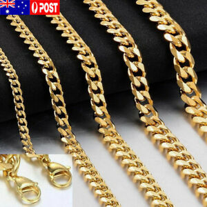 """18K Yellow Gold Plated 3mm - 12MM Classic Curb Chain Necklace 25"""" Mens & Womens"""