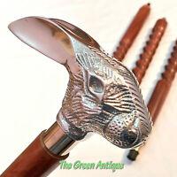 Vintage Style Wooden Walking Stick Cane Rabbit Handle Gift