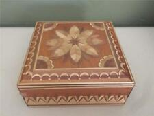 BAMBOO INLAY ON WOODEN TRINKET BOX WITH HINGED LID - VERY INTRICATE DESIGN!