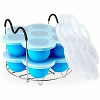 PRAMOO Silicone Egg Bites Molds and Steamer Rack Trivet with Handles for Blue
